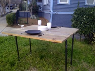 Re-purposed wood, metal piping